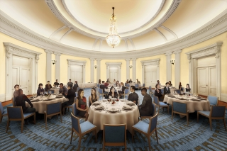 Artists' rendering of the Presidents' Room at the Yale Schwarzman Center