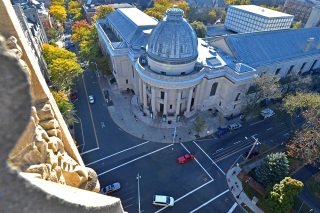 An aerial view of the Schwarzman Center rotunda