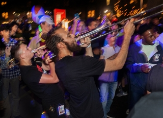 Trombonists playing to a gleeful crowd at Bulldog Bash 2019